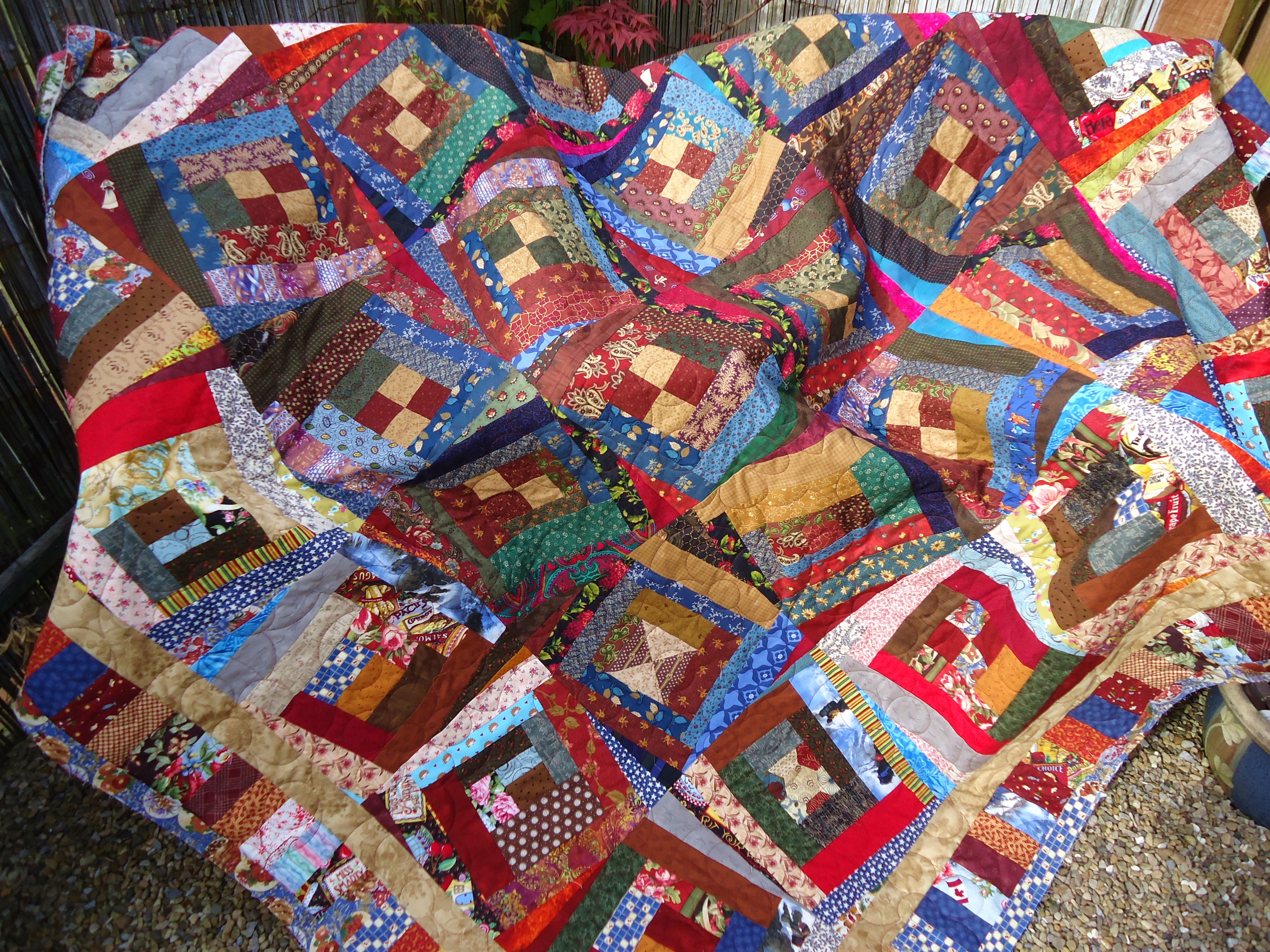 Wonky Log Cabin Longarm Quilted