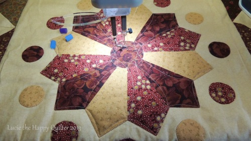 Dresden Plate Quilted with rulers