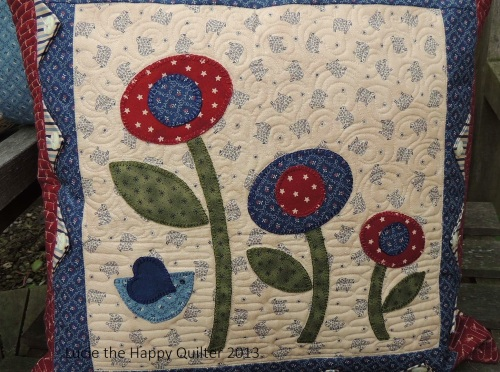 Blanket Stitch Applique Cushion Cover Close up