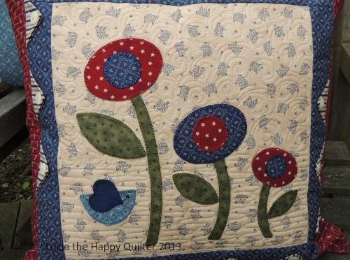 Blanket Stitch Applique Cushion Cover Close up