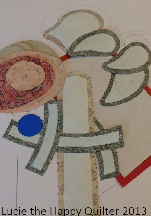 Freezer Paper and fabric shapes ready to start Whimsical Applique and Stitchery Project