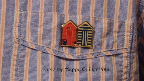 Wearing Beach Hut Pin Badge