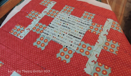 Knitting bag quilt top ready for quilting