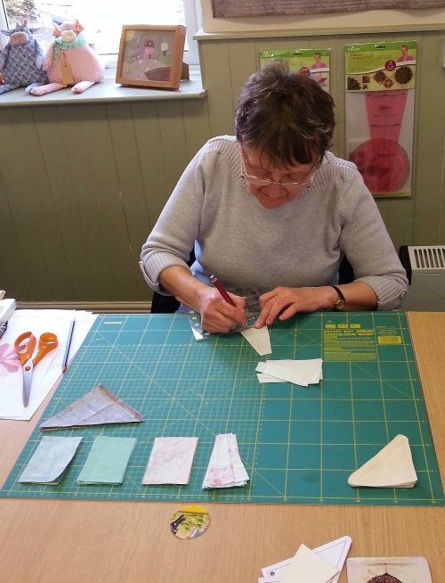 Gayle working on her beginner's blocks