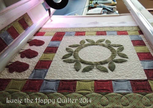 Festive Whimsy quilting  in progress