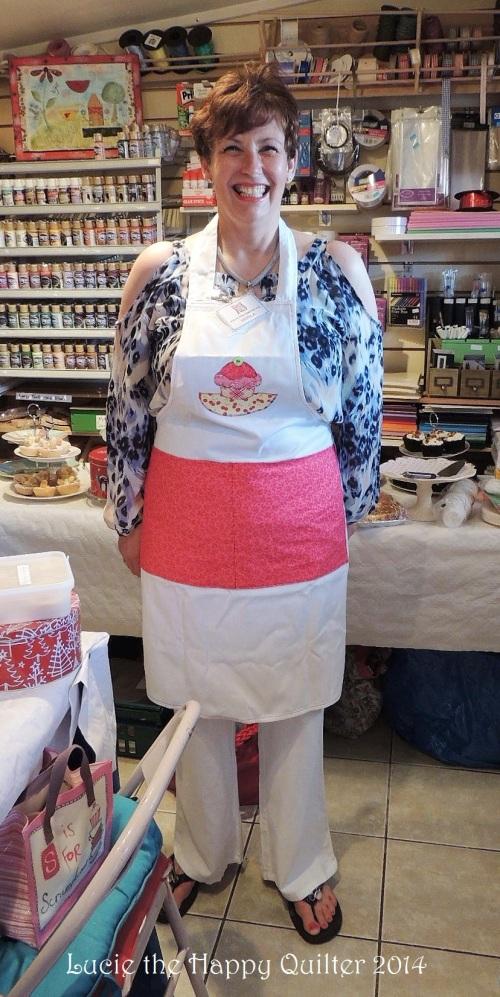 Nicola wearing her apron