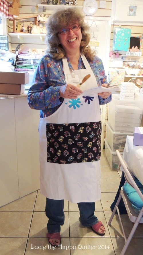 Sandra wearing her apron