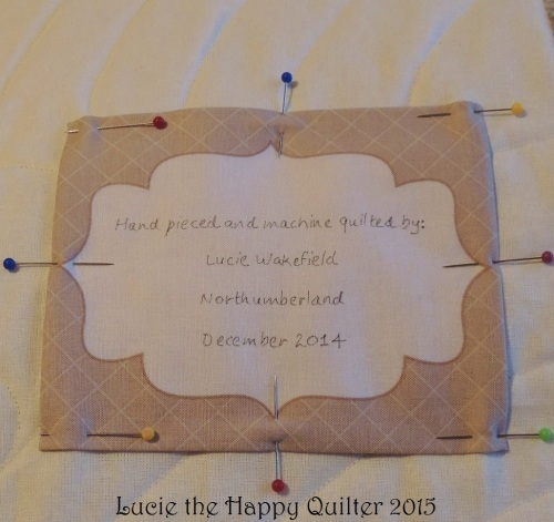 Adding a label to a quilt