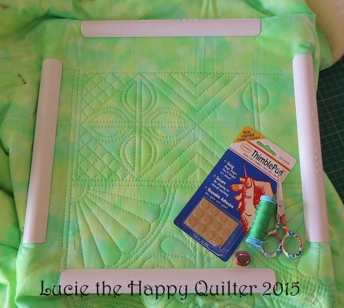 Wholecloth Hand Quilting testing leather thimble pads