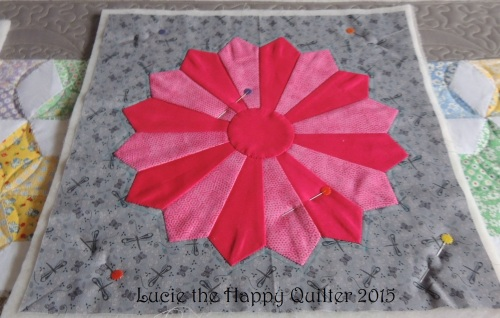 Flat block before hand quilting
