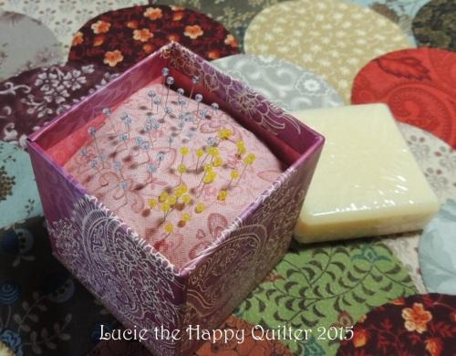 Soap box turned into pincushion