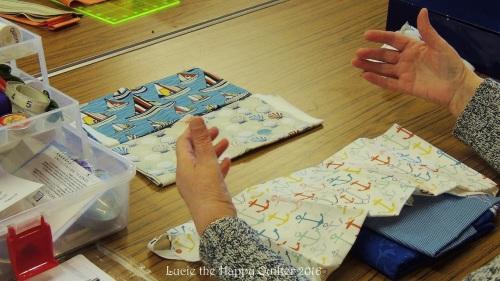 Carol choosing fabrics