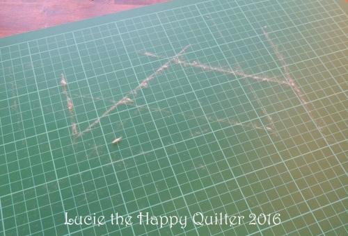 Fluff on a cutting mat
