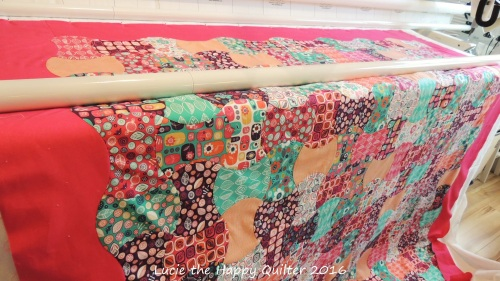 Apple Core quilt loaded ready to longarm quilt