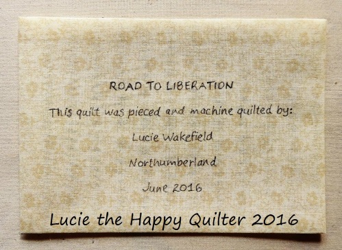 Road to Liberation Quilt Label